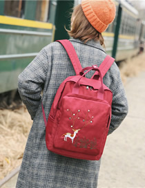 Fashion Red Wine Deer Backpack