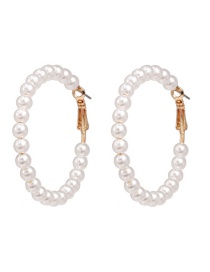 Fashion White Circle Pearl Earrings