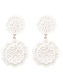 Fashion White Rice Beads Flower Earrings