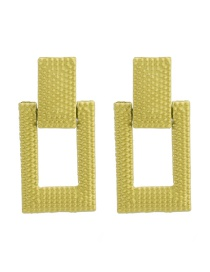 Fashion Fluorescent Yellow Alloy Square Earrings