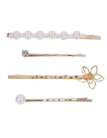 Fashion Gold Alloy Pearl Flower Hair Clip 4 Piece Set