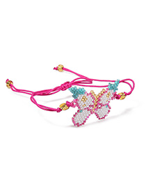 Fashion Red Woven Millet Beads Butterfly Bracelet