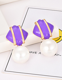 Fashion Purple Alloy Resin Pearl Square Earrings