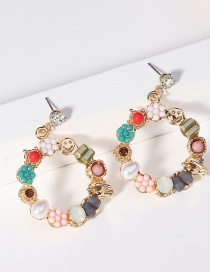 Fashion Color Pearl Crystal Flower Circle Earrings