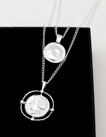 Fashion Silver Coin Portrait Metal Multilayer Necklace