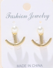 Fashion Gold Metal Anchor Pearl Back-mounted Earrings