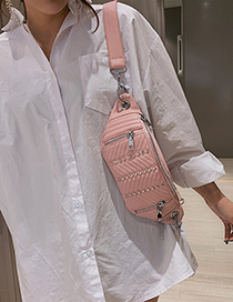 Fashion Pink Rivet Wide Chest Bag