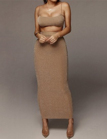 Fashion Khaki Halter Vest High Waist Skirt Suit