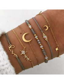 Fashion Gold Love Five-pointed Star Moon Six-piece Bracelet