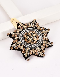 Fashion Champagne Alloy Resin Rice Beads Snowflake Hair Clip