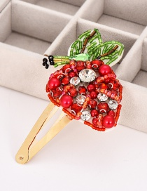 Fashion Red Alloy Resin Pearl Strawberry Hair Clip