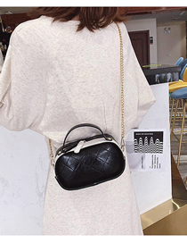 Fashion Black Contrast Pu Embroidered Rhombic Small Bag