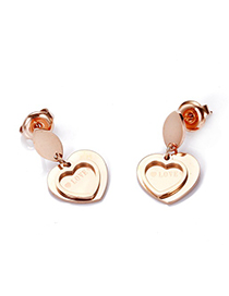 Fashion Rose Gold Heart-shaped Stainless Steel Gold-plated Earrings
