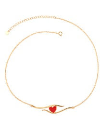 Fashion Gold Heart-shaped Drop Oil Necklace