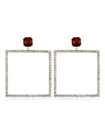 Fashion Gold Jeweled Four-square Earrings