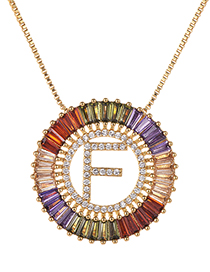 Fashion Gold Copper Inlaid Zircon Letter F Necklace