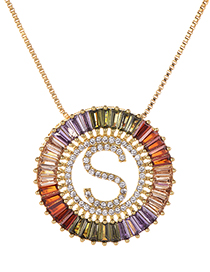 Fashion Gold Copper Inlaid Zircon Letter S Necklace