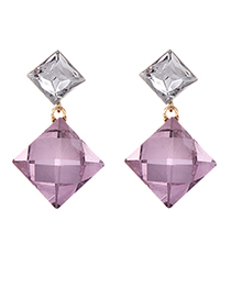 Fashion Pink Alloy Studded Square Earrings