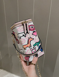 Fashion Pink Spray Figure Cartoon Dinosaur Portable Messenger Bag