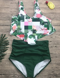 Fashion Green Leaf + Green Pants Ruffled Split Swimsuit