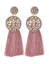 Fashion Leather Pink Alloy Diamond Round Tassel Earrings