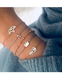 Fashion Gold Alloy Wax Rope Elephant Crown Bracelet Set