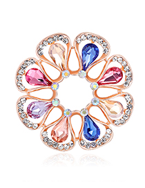 Fashion Multi-color Diamond Glass Drip Flower Pin Scarf Buckle Dual Purpose