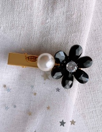 Fashion Black/crystal Flower Imitation Pearl Hairpin