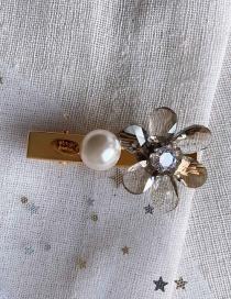 Fashion Light Gray/crystal Flower Imitation Pearl Hairpin
