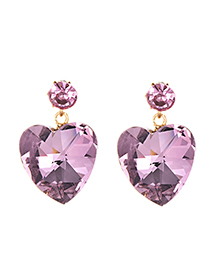 Fashion Pink Alloy Crystal Love Earrings
