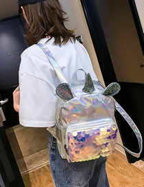 Fashion Silver Laser Unicorn Sequined Backpack