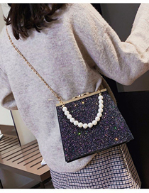 Fashion Black Color Sequined Pearl Portable Crossbody Bag