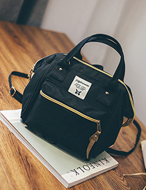Fashion Black Canvas Backpack Shoudlder Bag