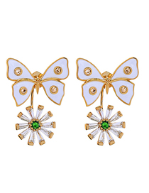 Fashion Butterfly 925 Silver Needle Drop Butterfly Flower Diamond Stud Earrings