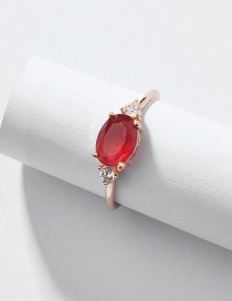 Fashion Red Alloy Diamond Ring