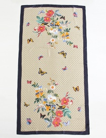 Fashion Blue Side Butterfly Floral Print Scarf