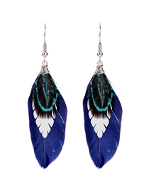 Fashion Blue 925 Silver Needle Feather Ear Hook Earrings