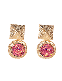 Fashion Sequin Red Alloy Geometry Earrings