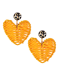 Fashion Orange Alloy Wood Love Earrings