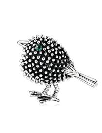 Fashion Silver Alloy Drop Oil And Diamond Bird Brooch