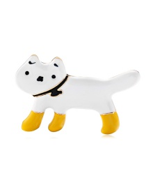 Fashion White Alloy Dripping Cat Brooch