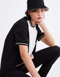 Fashion Black Colorblock Kangaroo Pocket Dress