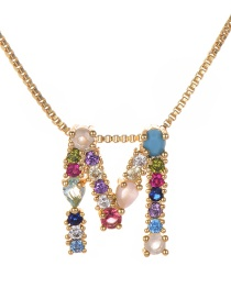 Fashion Color Matching Copper Inlaid Zircon Letter Necklace