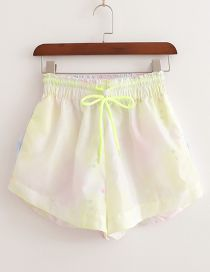Fashion Light Yellow Tie Tie Dyed A Shorts