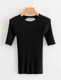 Fashion Black Stretch Knit Halter T-shirt