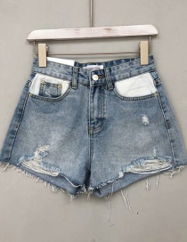 Fashion Blue Washed Denim Hole A Shorts