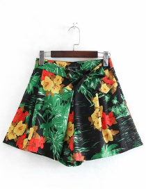 Fashion Green Flower Print A Shorts