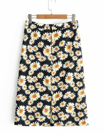 Fashion Black Daisy Printed Front-breasted Skirt