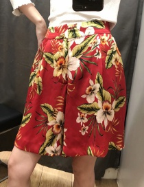 Fashion Red Flower Print A Shorts