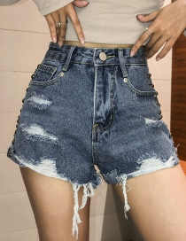 Fashion Blue Washed Double Side Rivet Hole Denim Shorts